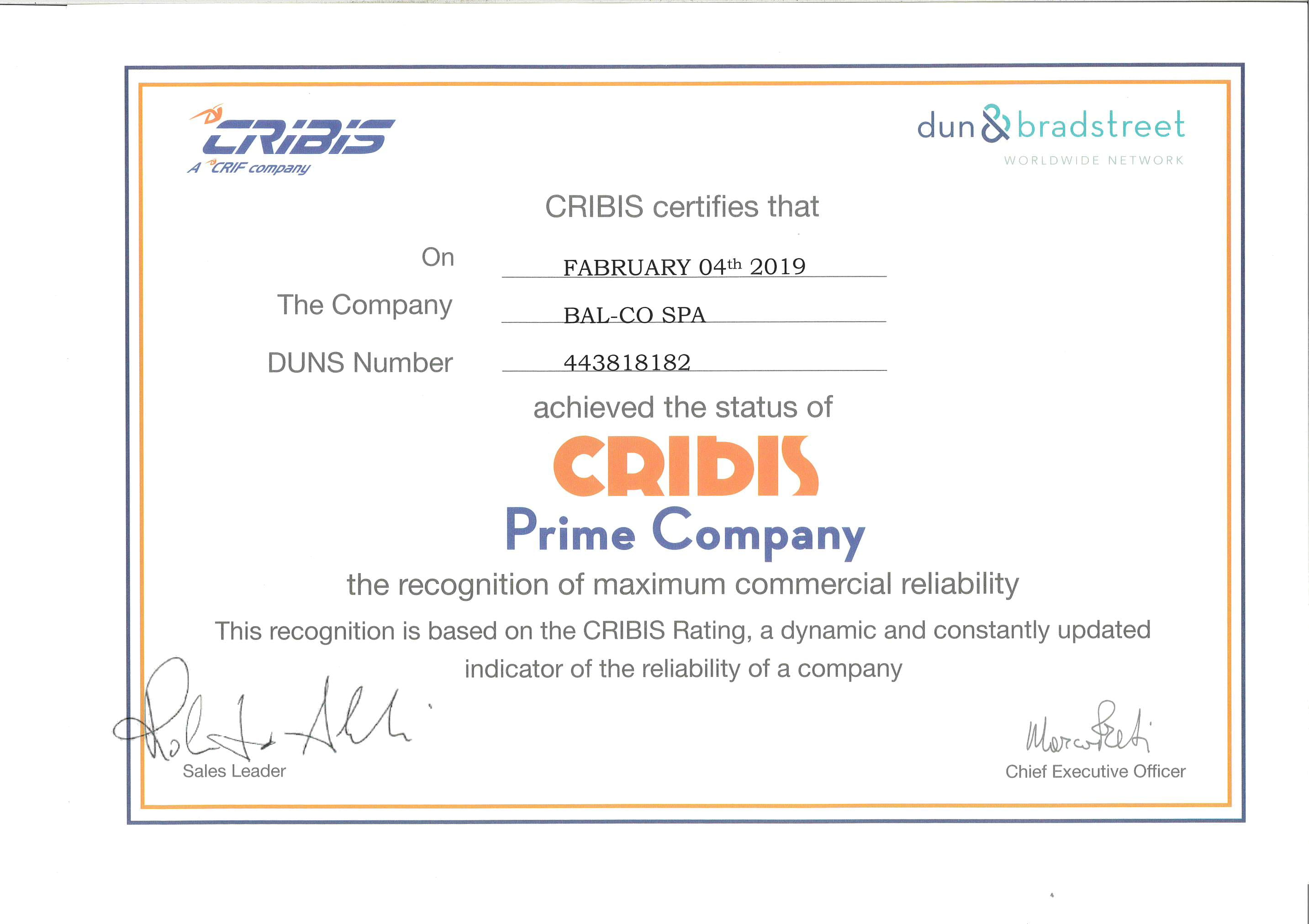 Bal_Co has obtained the CRIBIS Prime Company certification